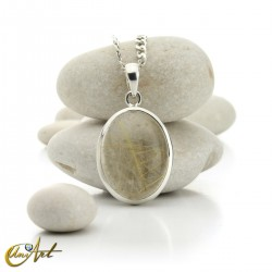 Pendant of quartz with rutile and sterling silver - oval , model 2