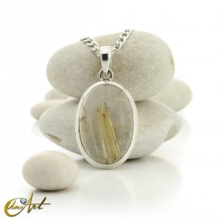 Pendant of quartz with rutile and sterling silver - oval , model 3