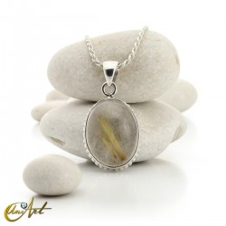 Gothic Oval Rutilated Quartz Pendant in Sterling Silver - model 1