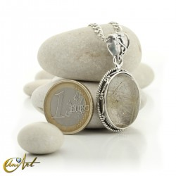 Gothic Oval Rutilated Quartz Pendant in Sterling Silver - model 2
