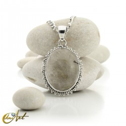 Gothic Oval Rutilated Quartz Pendant in Sterling Silver - model 3