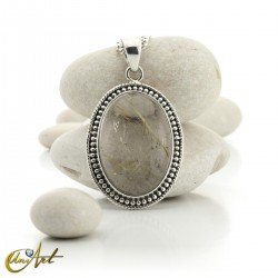 Gothic Oval Rutilated Quartz Pendant in Sterling Silver - model 4