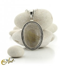 Gothic Oval Rutilated Quartz Pendant in Sterling Silver