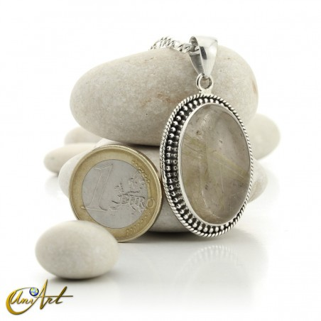 Gothic Oval Rutilated Quartz Pendant in Sterling Silver - model 5
