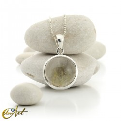 Sterling silver with rutilated quartz, round pendant