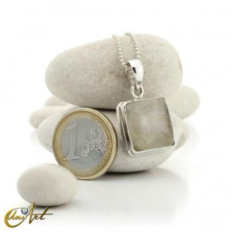 Quadrangular pendant of sterling silver and quartz with rutile -  model 1
