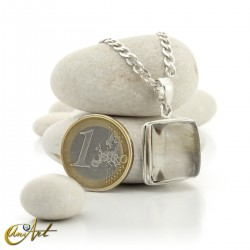 Quadrangular pendant of sterling silver and quartz with rutile -  model 2