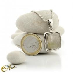 Quadrangular pendant of sterling silver and quartz with rutile -  model 3