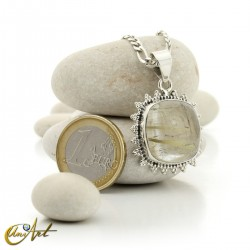 Quadrangular pendant of sterling silver and quartz with rutile -  model 4