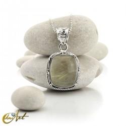 Quadrangular pendant of sterling silver and quartz with rutile -  model 5
