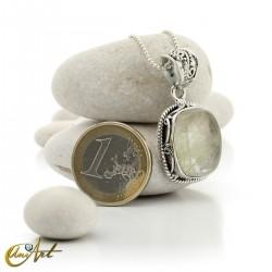 Colgante de plata de ley y cuarzo con rutilo cuadrangular -  modelo 5