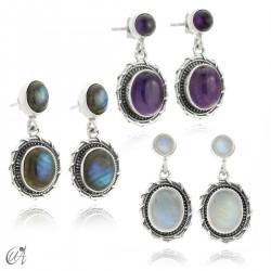 Sterling silver and gemstone earrings, Maktub