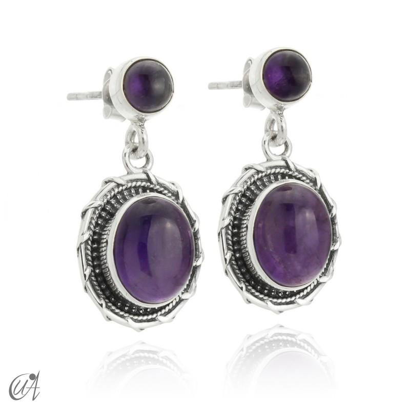 Sterling silver and amethyst earrings, Maktub
