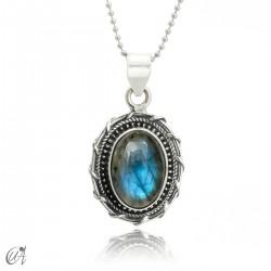 Silver and labradorite pendant, Maktub