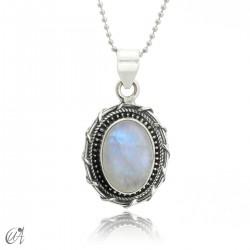 Silver and moonstone pendant, Maktub