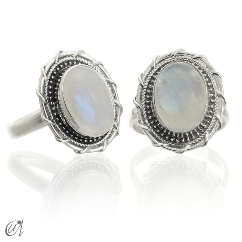 Piedra luna en plata de ley, anillo Maktub