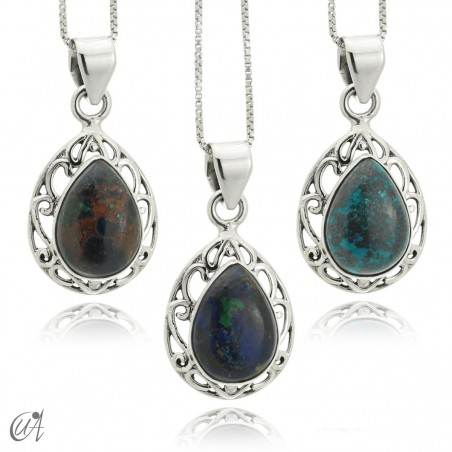 Lahab pendant in sterling silver with natural stone - azurite