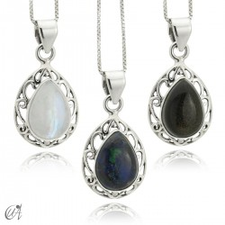Lahab pendant in sterling silver with natural stone