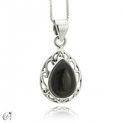 Lahab pendant in sterling silver with natural stone gold obsidian