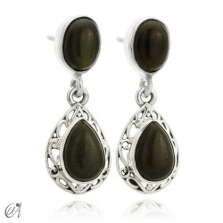 Sterling silver earrings with natural gold obsidians, Lahab