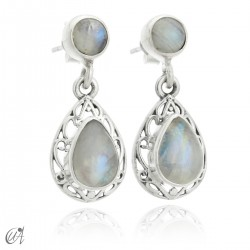 Sterling silver earrings with natural moonstones, Lahab
