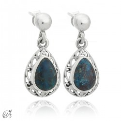 Sterling silver earrings with natural azurites, Lahab