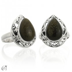 Gold obsidian in sterling silver ring Lahab