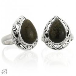 Obsidiana dorada en plata de ley, anillo Lahab