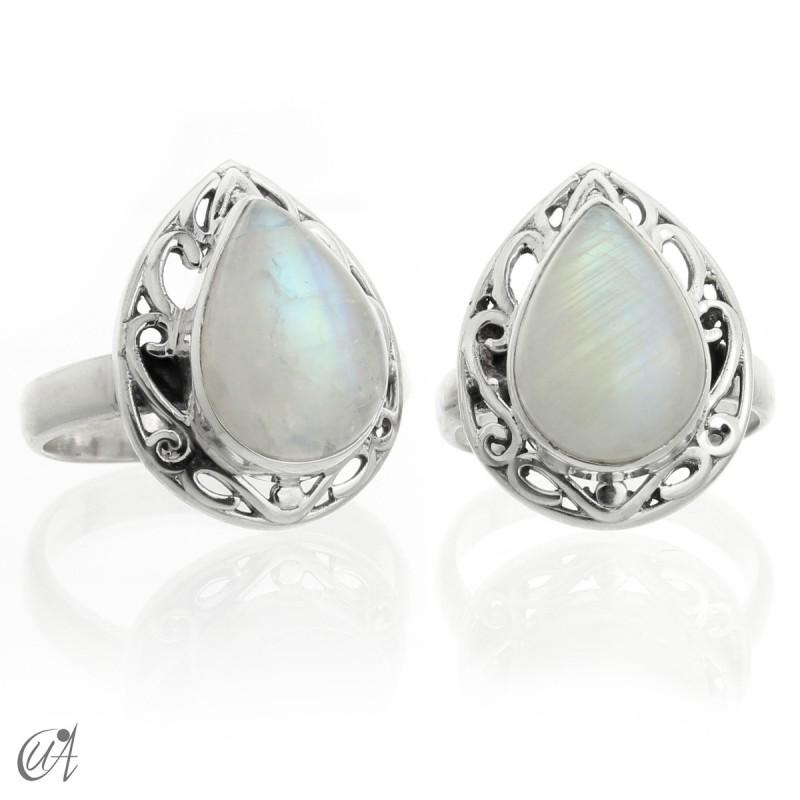 Piedra luna - anillo en plata modelo Lahab