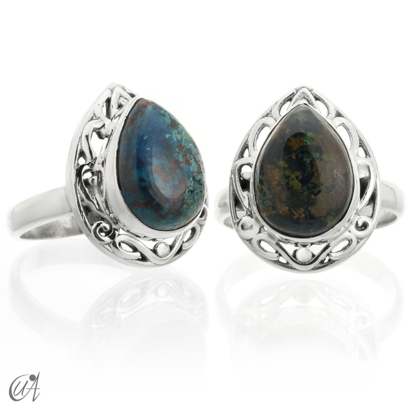 Azurite - sterling silver ring