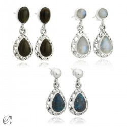 Sterling silver earrings with natural stones, Lahab