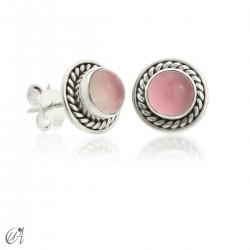 Mini pendientes Sunna, cuarzo rosa y plata de ley