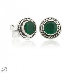Sunna mini earrings, emerald and sterling silver