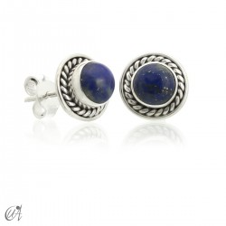 Sunna mini earrings, lapis lazuli and sterling silver