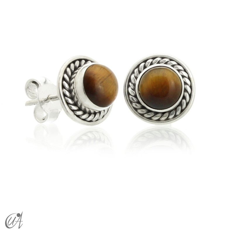 Sunna mini earrings, tiger eye and sterling silver