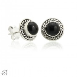 Sunna mini earrings, onyx and sterling silver
