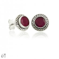 Sunna mini earrings, ruby and sterling silver