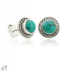 Sunna mini earrings, turquoise and sterling silver