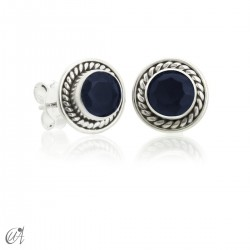Sunna mini earrings, sapphire and sterling silver