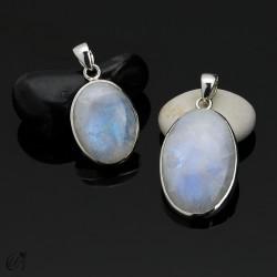 Colgantes en plata con piedra luna ovalados