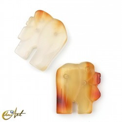Elephant with 3 holes - agate