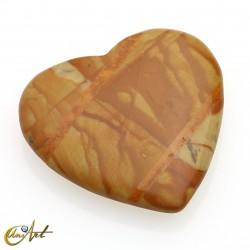 Corazón pequeño de piedras variadas -  jaspe madera