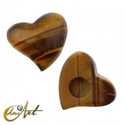 Cabochon heart of tiger eye