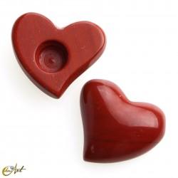 Cabochon heart of red jasper