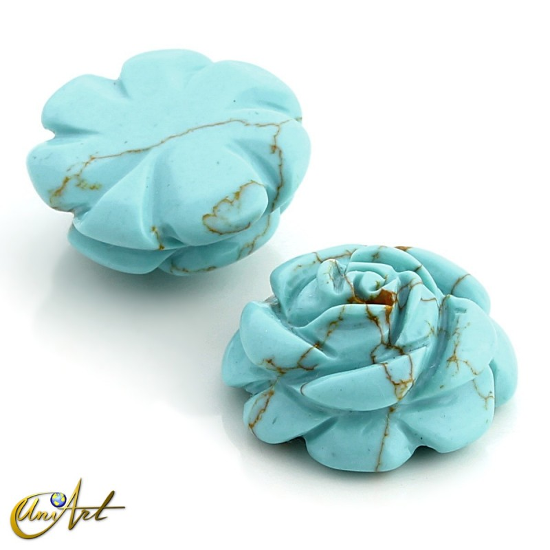 Synthetic turquoise carved rose