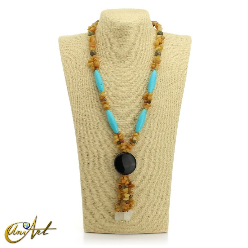Yellow calcite necklace - model 1