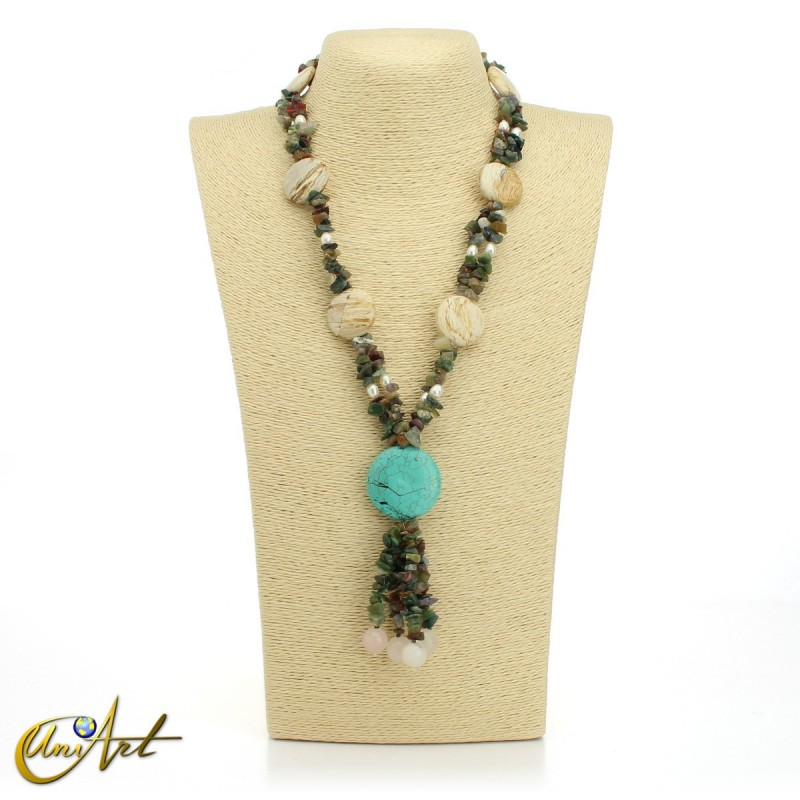 Agate necklace with jasper and turquenite
