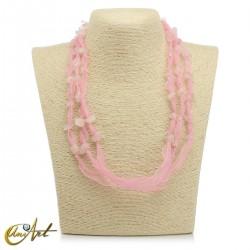 Collar de cuarzo rosa con organza sin el colgante