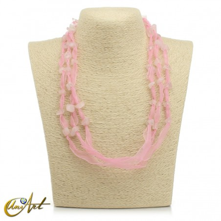 Rose quartz necklace with organza without the pendant