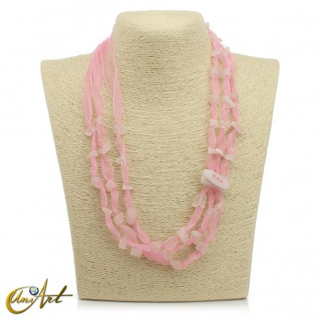 Rose quartz necklace with organza, natural stone clasp